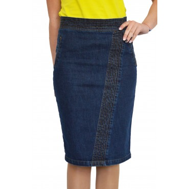 New Casual Knee Length Pencil Blue Jeans Denim Skirt