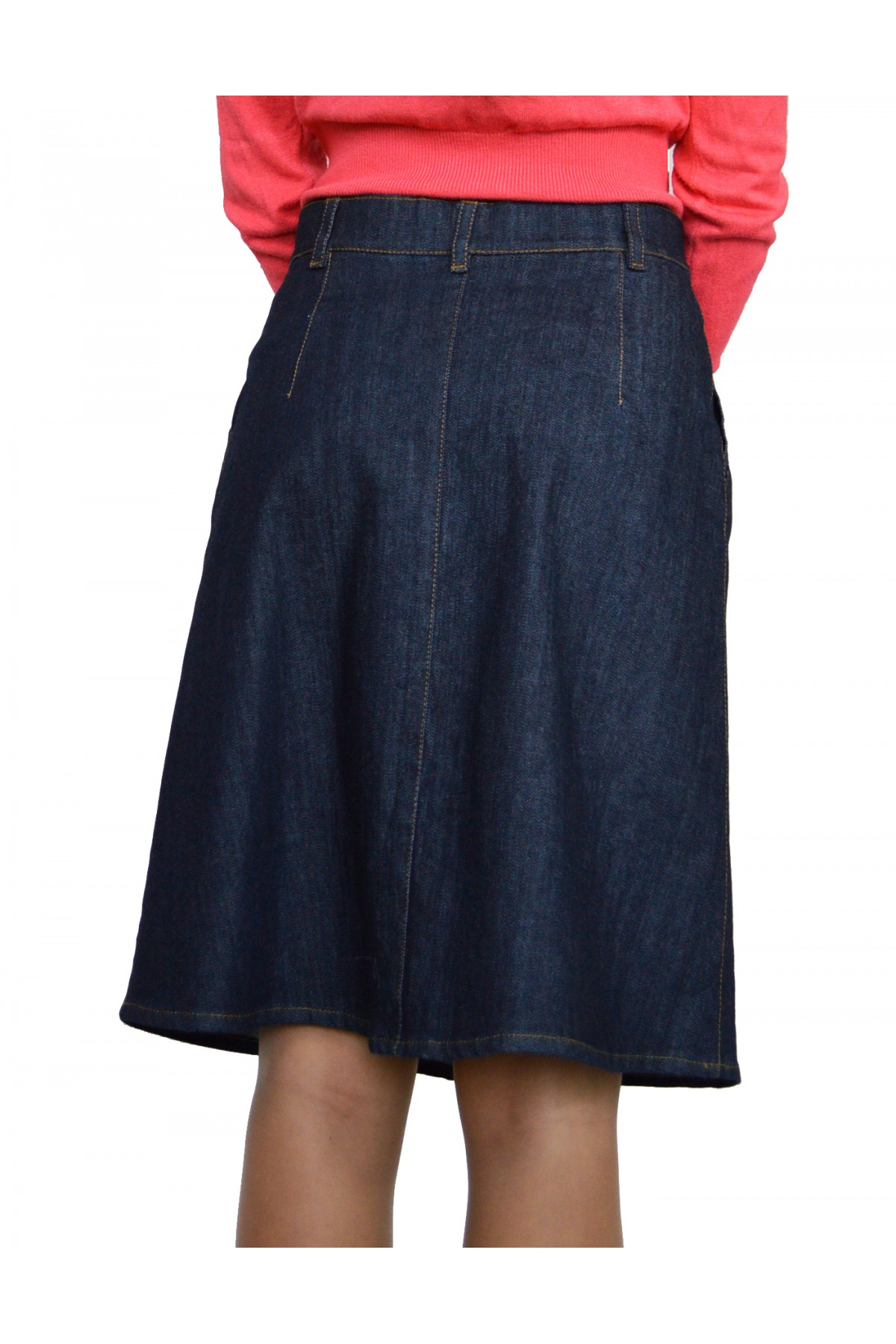 New Casual Knee Length A-line Blue Jeans Denim Skirt - F-selections
