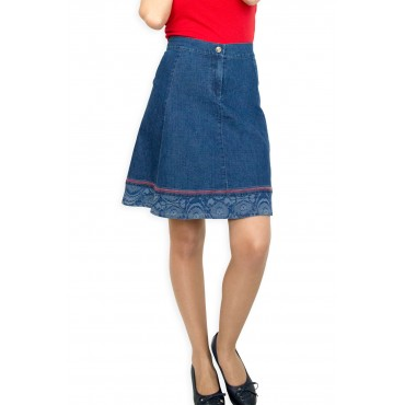 New Casual Knee Length A-line Blue Jeans Denim Skirt