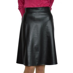 New Casual Knee Length A-line Black Faux Leather Skirt