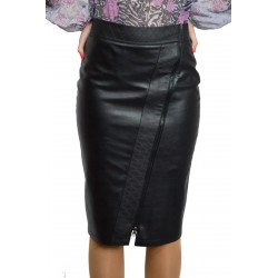 New Casual Knee Length Pencil Streight Black Faux Leather Skirt
