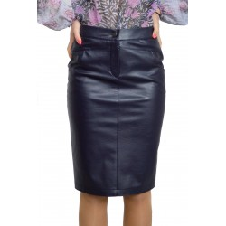New Casual Knee Length Pencil Streight Blue Faux Leather Skirt