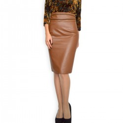 New Casual Knee Length Pencil Streight Brown Faux Leather Skirt