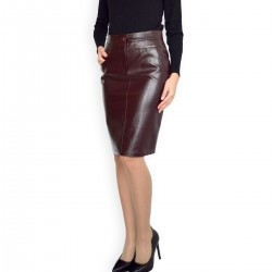New Casual Knee Length Pencil Streight Bordeaux Faux Leather Skirt