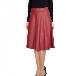 New Casual Knee Length A-line Brown Faux Leather Skirt